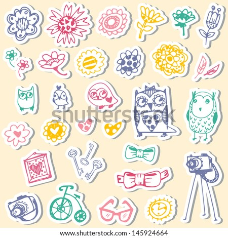 set of stickers with owls and