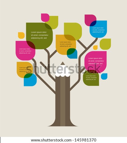 pencil tree  education theme