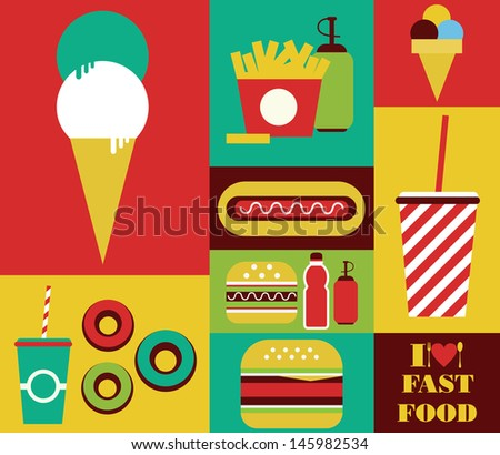 fast food card design vector