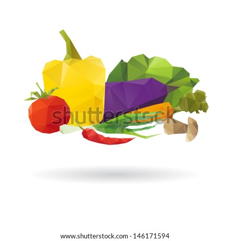 set of vegetables isolated on a