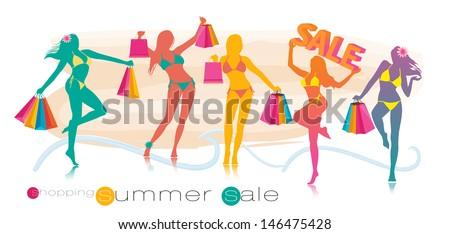 summer shopping sale girl