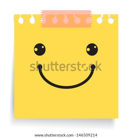 smiley sign on yellow paper