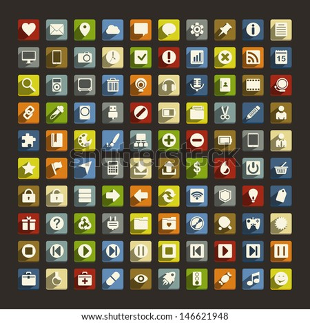 100 universal flat icons with