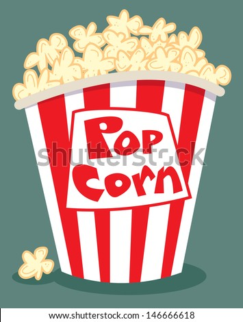 popcorn in a red and white tub