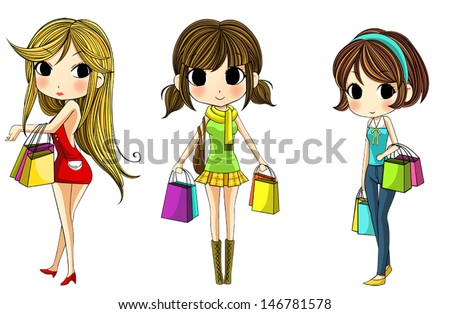 cute stylish cartoon girls in