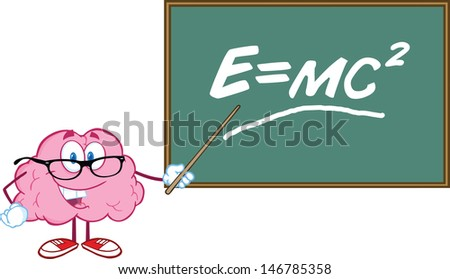 smiling brain teacher character