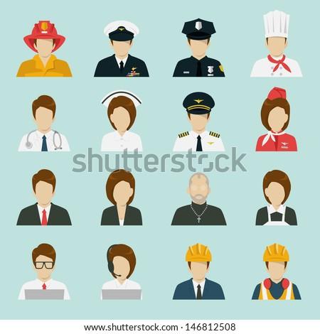 profession icons set  vector