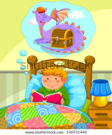 boy in bed reading a book about