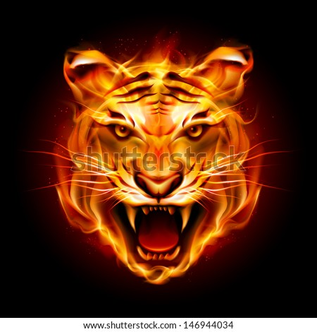 head of a tiger in tongues of