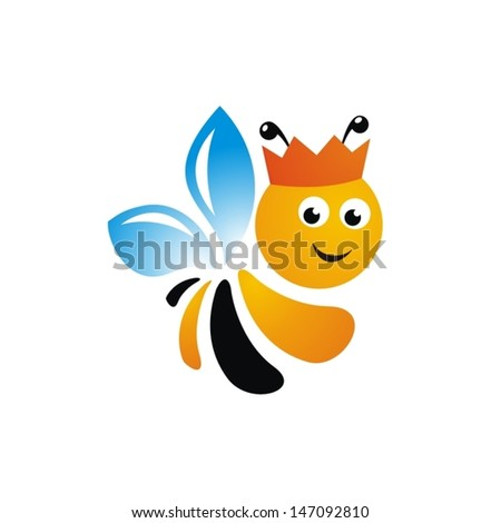 bee logo isolated on white