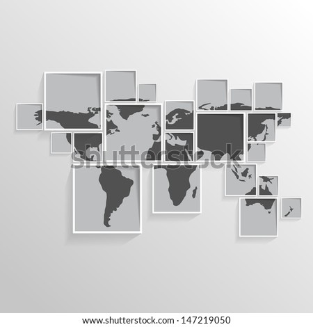world map on squares   black