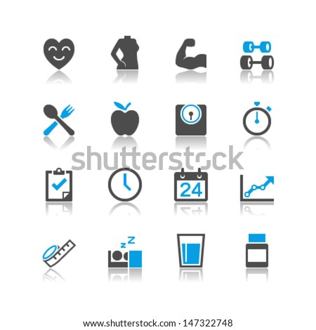healthcare icons reflection