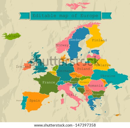 editable map of europe with all