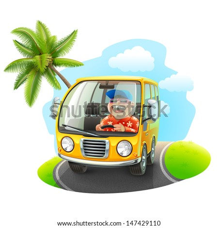 trip on a car illustration