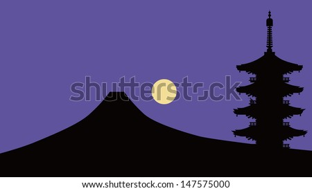 mount fuji with tower