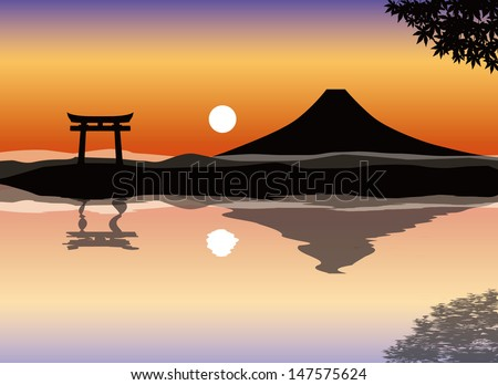 mount fuji sunset