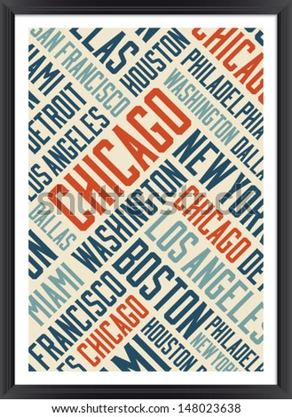 chicago city words cloud poster