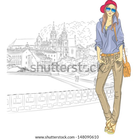 vector sketch of a fashion