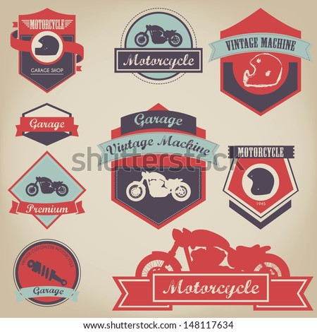 vintage motorcycle label design