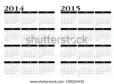 calendar 2014 2015 in english