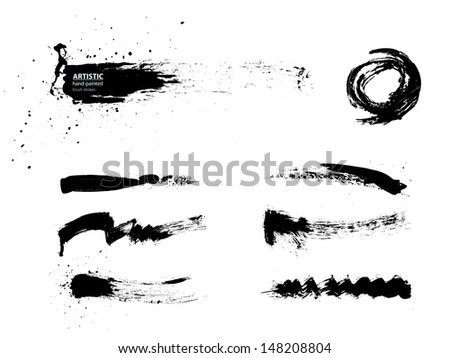 black abstract brush strokes