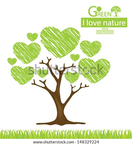 tree design heart go green