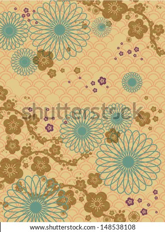 chinese motif background cherry