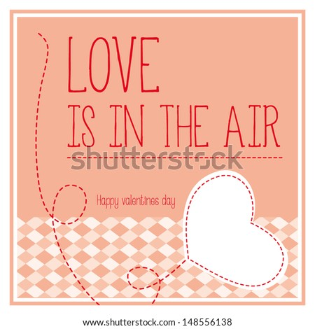 vector valentine pink card with