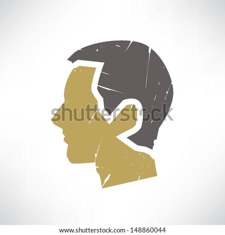 retro man  head  think man