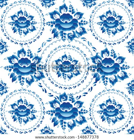 gzhel seamless ornament pattern