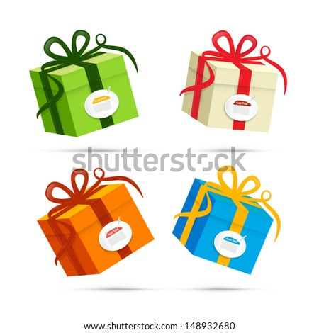 vector present boxes isolated