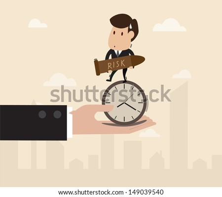 businessman stand on the clock