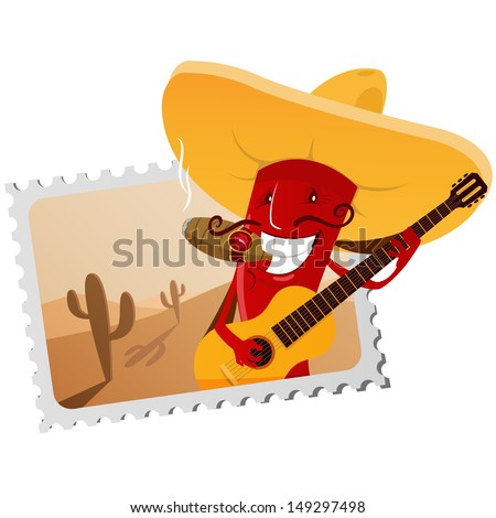 postage stamp with funny chili