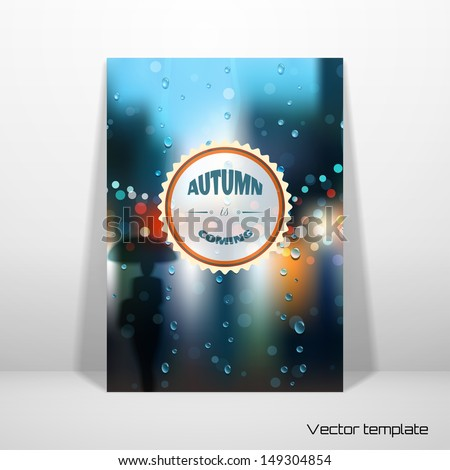 vector card template rain  wet