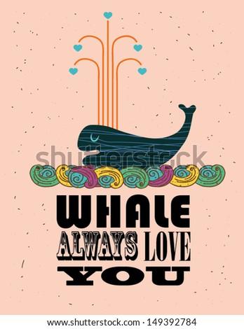 whale love poster design
