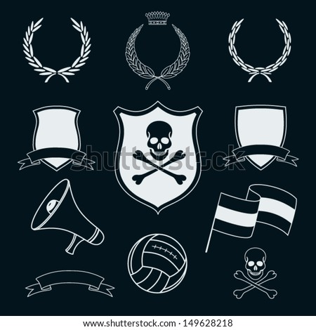 set of vector football elements