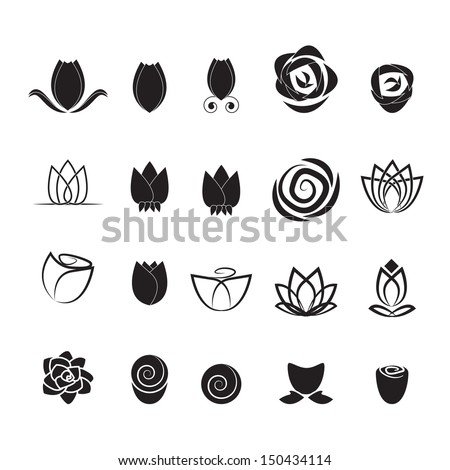 flower icons set   isolated on