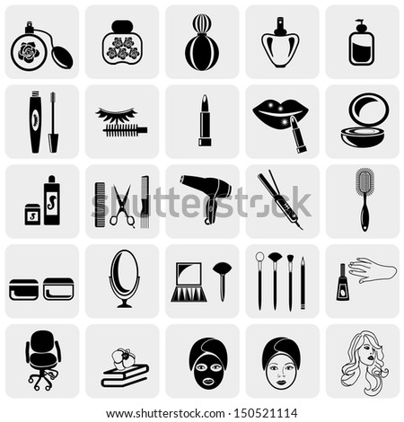 cosmetics vector icons set on
