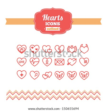 set of hand drawn hearts icons