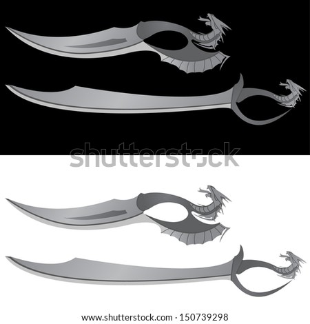 dragons saber and knife vector