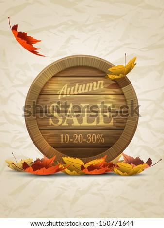 vector retro autumn sale poster