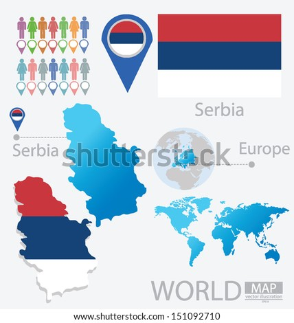 republic of serbia flag map