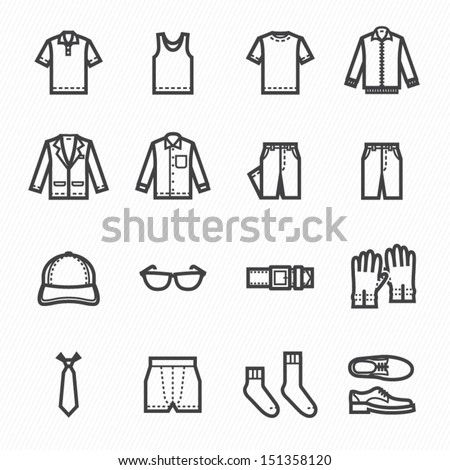 men clothing icons with white