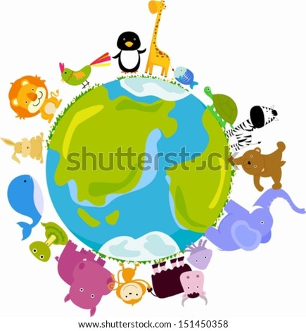 animals and globe