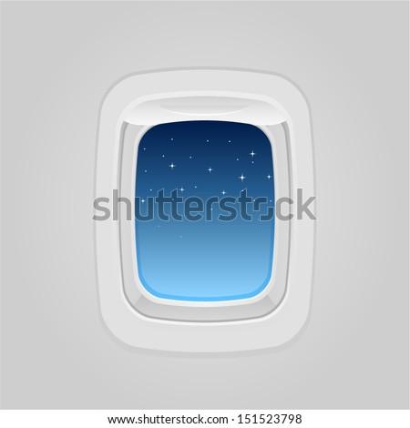 vector plane window at night
