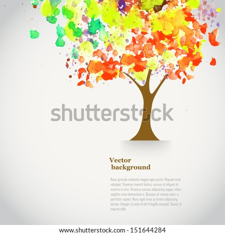 vector watercolor autumn tree