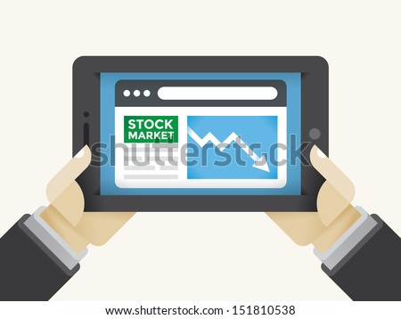 businessman holding tablet