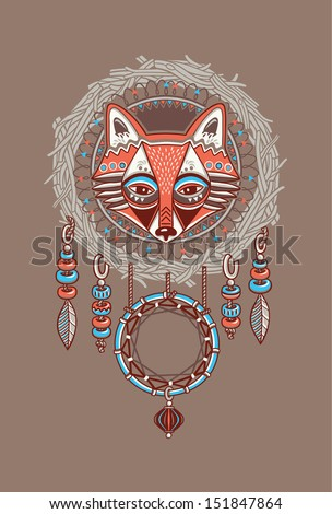 dream catcher with red fox