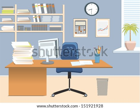 interior office roomvector