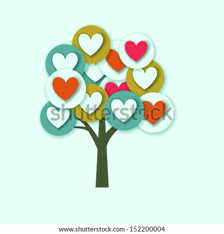 hearts tree with multicolored